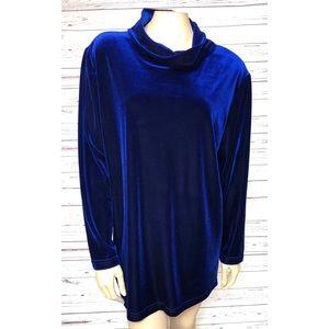 Hot Cotton Marc Ware Blue Velvet Top Large
